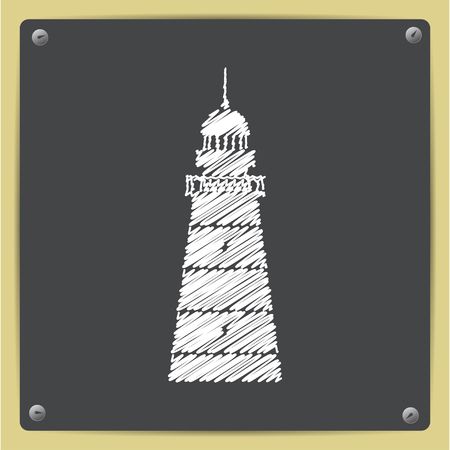 lighthouse keeper: chalk drawn in sketch style lighthouse icon on school blackboard Stock Photo