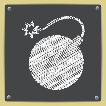 bomb threat: chalk drawn in sketch style bomb icon on school blackboard Illustration