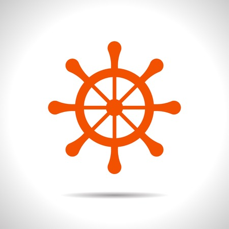 schooner: flat color steering wheel icon  on white background