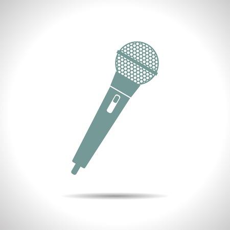effen kleur de hand microfoon pictogram op een witte achtergrond Stock Illustratie