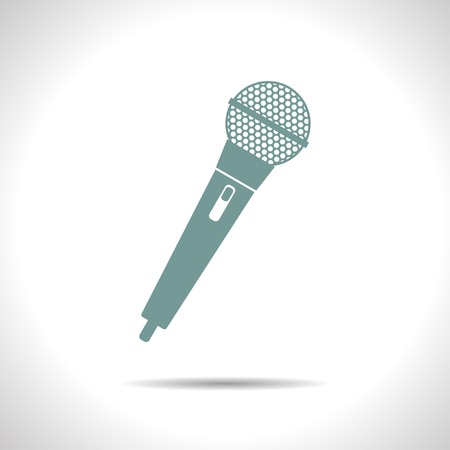 old microphone: flat color hand microphone icon  on white background