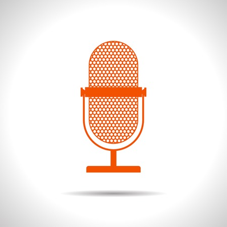 flat color retro microphone icon  on white background