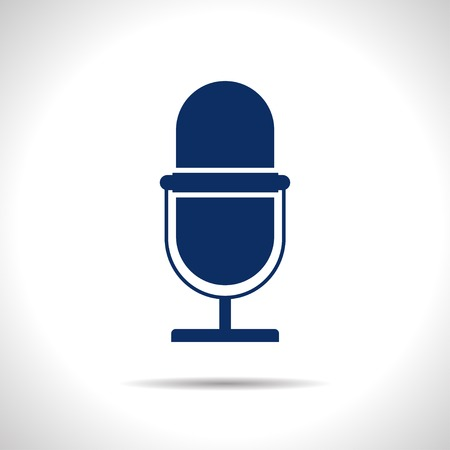 oldie: flat color retro microphone icon  on white background
