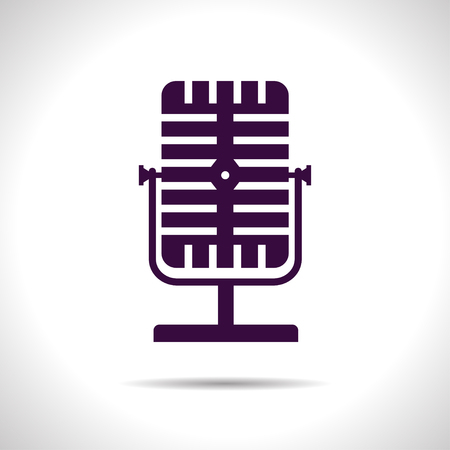 entertaining presentation: flat color retro microphone icon  on white background