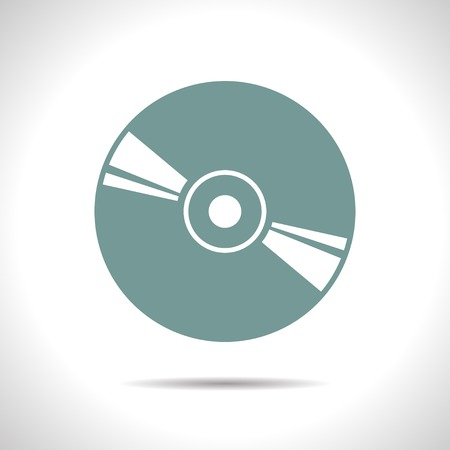 medium: flat color compact disc icon  on white background