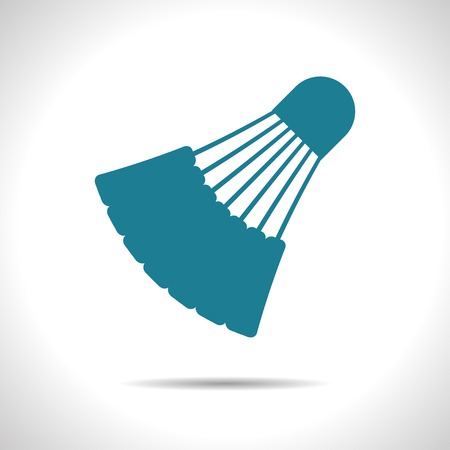 cross match: flat color simple badminton icon  on white background Illustration