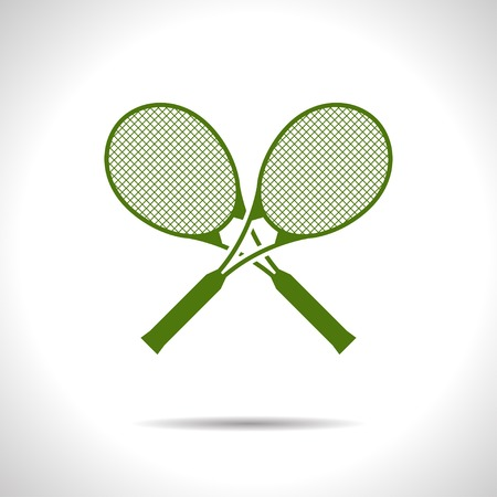 flat color tennis rackets icon  on white background