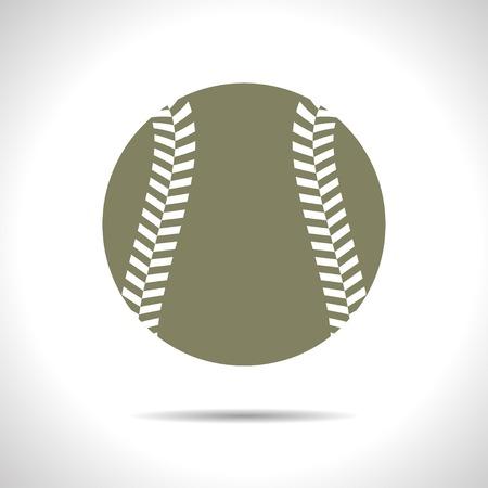 sphere base: flat color baseball icon  on white background