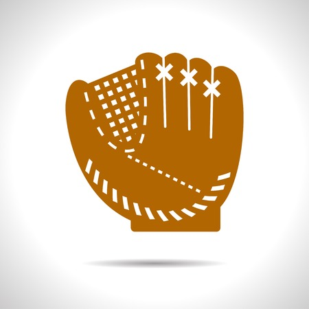 flat color baseball glove icon  on white background  イラスト・ベクター素材
