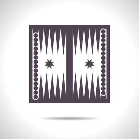 backgammon: flat color backgammon table with dices icon  on white background