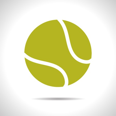 tennisball: flat color tennis ball icon  on white background Illustration