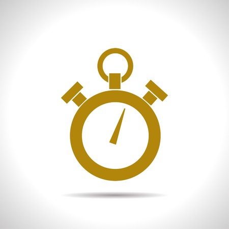 watch movement: flat color retro stopwatch icon  on white background Illustration