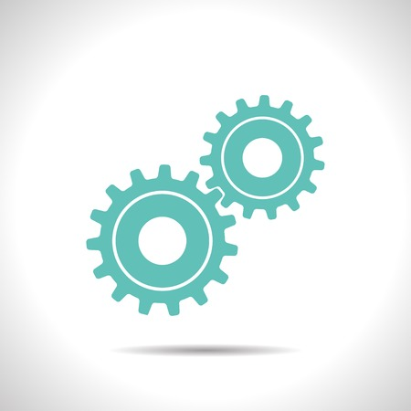 flat color two cogwheels icon  on white background