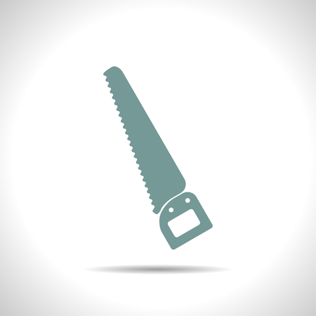 crosscut: flat color saw icon  on white background . Industrial equipment Illustration