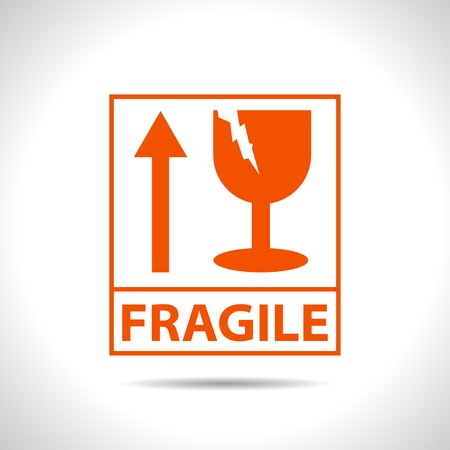 flat color fragile icon  on white background