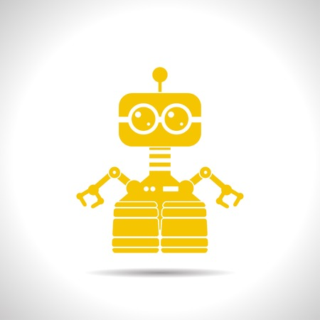 retro robot: flat color retro robot toy icon  on white background Illustration