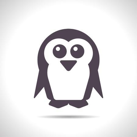 flightless: flat color penguin icon  on white background