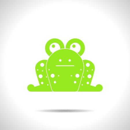 manga style: flat color frog icon  on white background Illustration