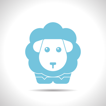 sheep wool: flat color sheep icon  on white background