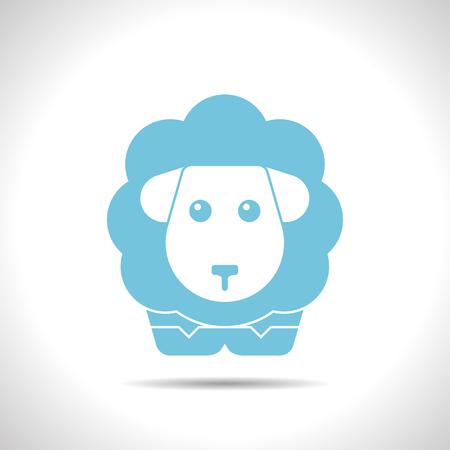 ovejas: plana icono de las ovejas de color sobre fondo blanco