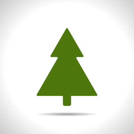 giftware: flat color christmas tree icon  on white background