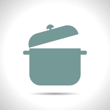 saucepan: flat color saucepan icon  on white background Illustration