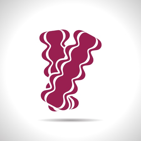browned: flat color bacon icon  on white background Illustration