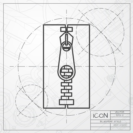 unzipped: classic blueprint of tailor zipper icon on engineer and architect background