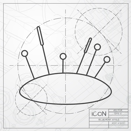 large group of objects: classic blueprint of tailor pins and needles icon on engineer and architect background