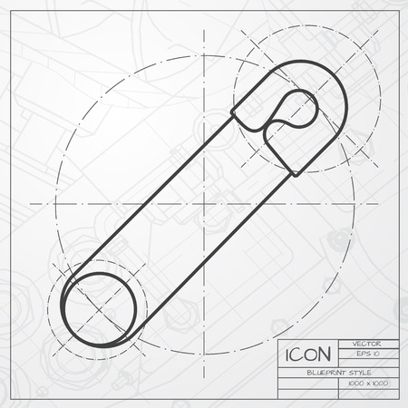acute: classic blueprint of tailor pin icon on engineer and architect background
