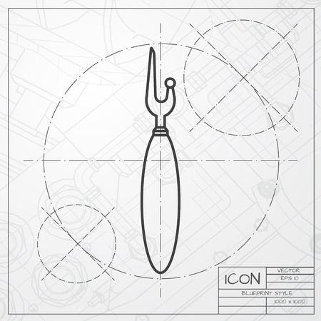 classic blueprint of tailor seam ripper icon on engineer and architect background