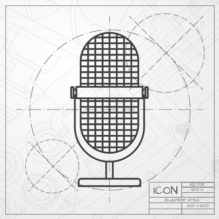 entertaining presentation: classic blueprint of retro microphone icon on engineer and architect background