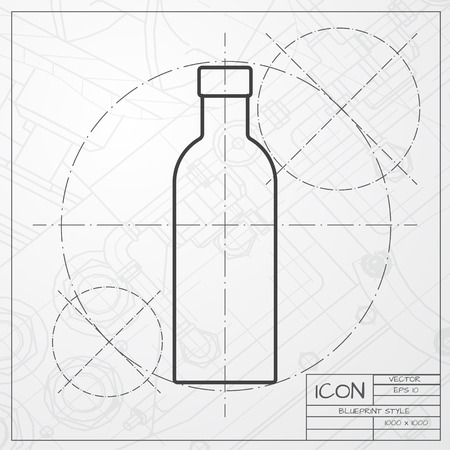 europe closeup: classic blueprint of olive oil bottle template on engineer and architect background
