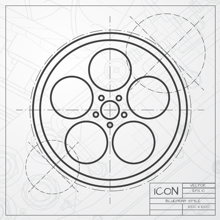 bobbin: classic blueprint of retro bobbin icon on engineer and architect background