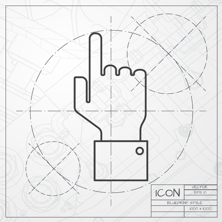 help section: classic blueprint of hand pointer icon on engineer and architect background Illustration