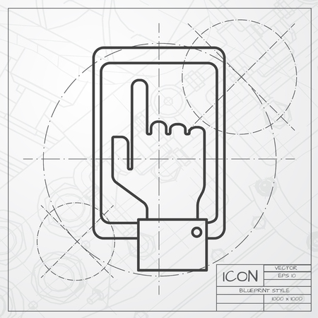 the information card: classic blueprint of hand of the person with the phone on engineer and architect background . Concept of communication in the network