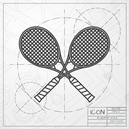 TENIS: Vector clásico modelo de raquetas de tenis icono en ingeniero y arquitecto fondo