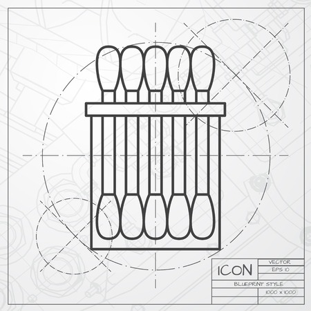 ear bud: Vector classic blueprint of cotton swabs icon on engineer and architect background Illustration