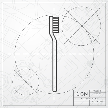 Vector classic blueprint of tooth brush icon on engineer and architect background