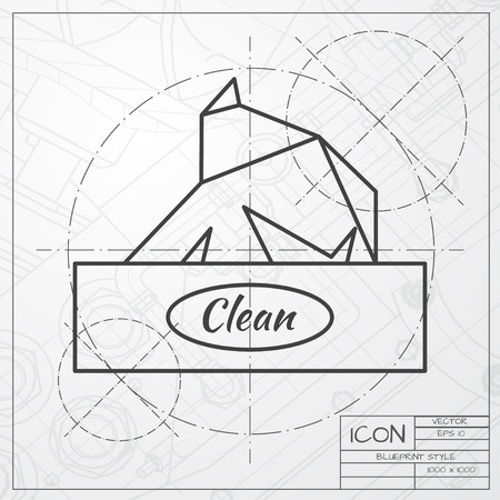 soft tissues: Vector classic blueprint of box with napkin on engineer and architect background