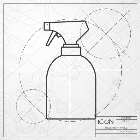 sprayer: Vector classic blueprint of sprayer bottle on engineer and architect background Illustration