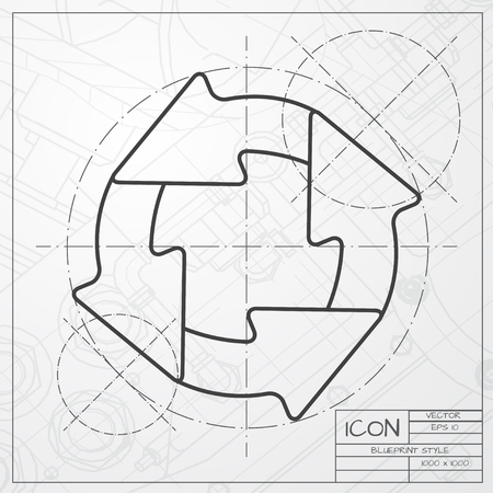Vector flat circle round arrows for business diagram on hexagonal vector classic blueprint of circle round arrows for business diagram on engineer and architect background malvernweather Image collections