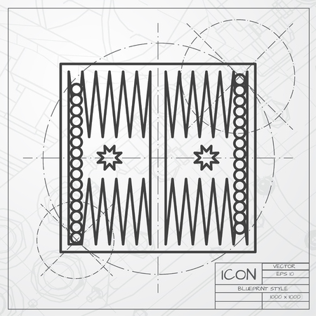 backgammon: Vector classic blueprint of backgammon table with dices icon on engineer and architect background