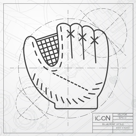 cowhide: Vector classic blueprint of baseball glove icon on engineer and architect background Illustration