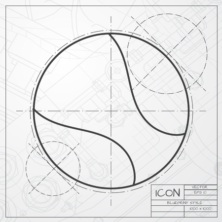 curve ball: Vector classic blueprint of tennis ball icon on engineer and architect background Illustration