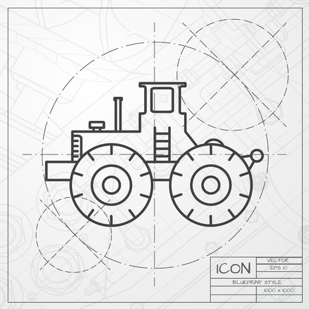 land development: Vector classic blueprint of heavy machine icon on engineer and architect background Illustration