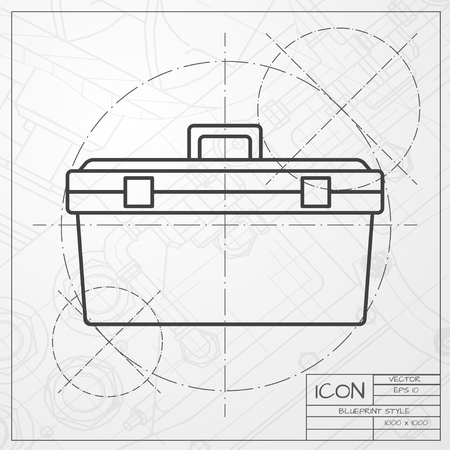 box construction: Vector classic blueprint of toolkit icon on engineer and architect background . Industrial equipment