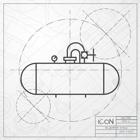 tanque de combustible: Vector clásico modelo de icono de la cisterna de ingeniero y arquitecto fondo
