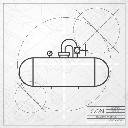 fuel storage tank: Vector classic blueprint of cistern icon on engineer and architect background