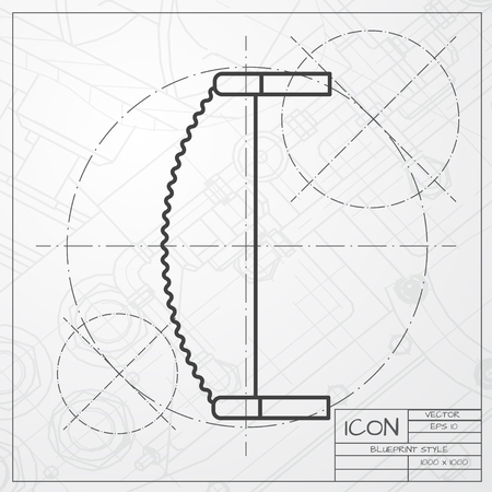 crosscut: Vector classic blueprint of saw icon on engineer and architect background . Industrial equipment Illustration
